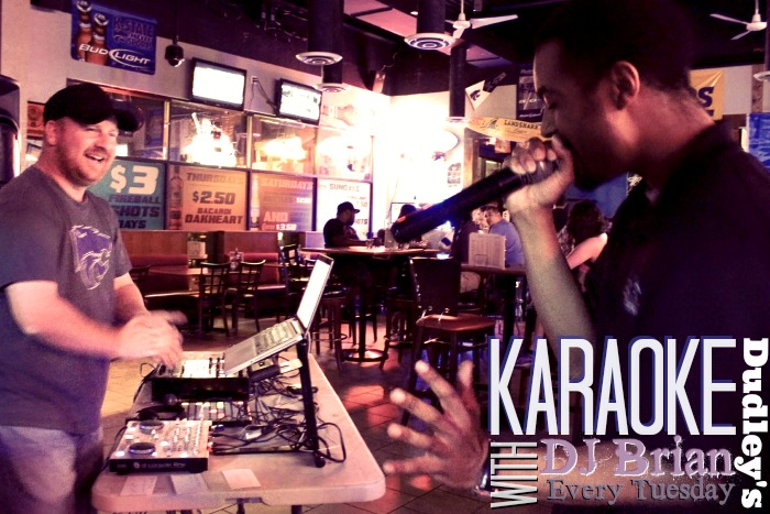 Tuesday is 1/2 priced drinks and karaoke at Dudley's!